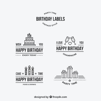 Набор стикеров дня рождения в линейном стиле