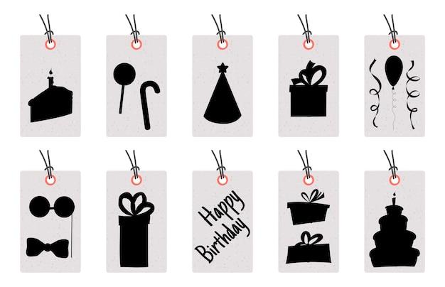 Набор тегов дня рождения для праздничных товаров на белом фоне. мультяшный стиль. вектор.