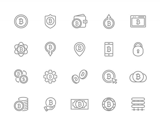 ビットコインラインアイコンのセット。投資、財布、交換など。