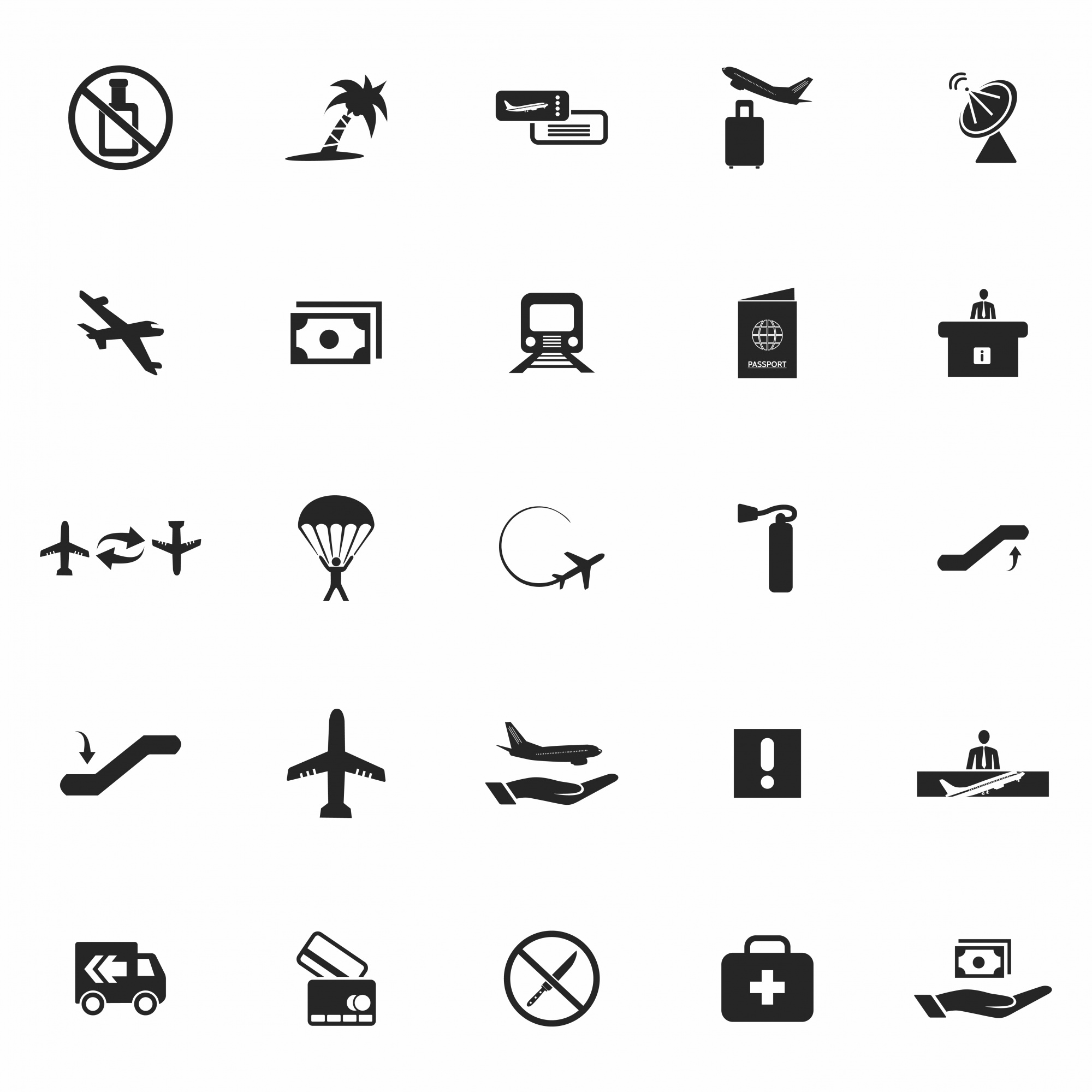 Set of black airport icons