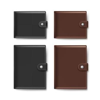 Набор черно-коричневых кожаных кошельков