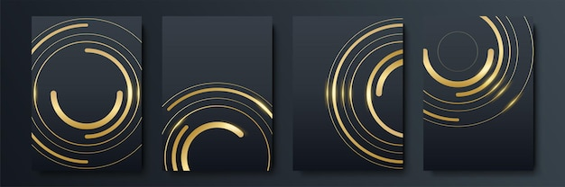 Набор черно-золотых шаблонов дизайна для обложек, брошюр, флаеров, мобильных технологий, приложений и онлайн-сервисов, типографских эмблем, логотипов, баннеров. абстрактные современные фоны