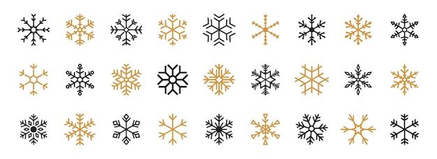 黒と金の雪片のセット。黒のスノーフレークベクトルアイコン。雪片ベクトルテンプレート。冬のスノーフレークアイコン。冬のフラットベクトル装飾要素