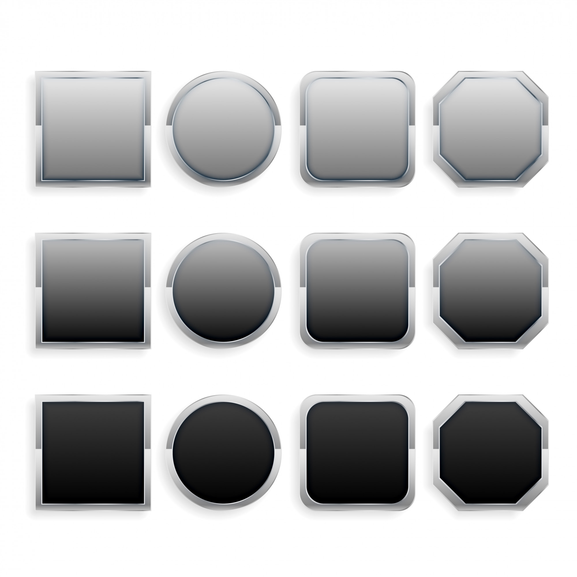Set of black and gray metal frame buttons