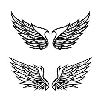 黒と白の天使の羽のベクトルのセット
