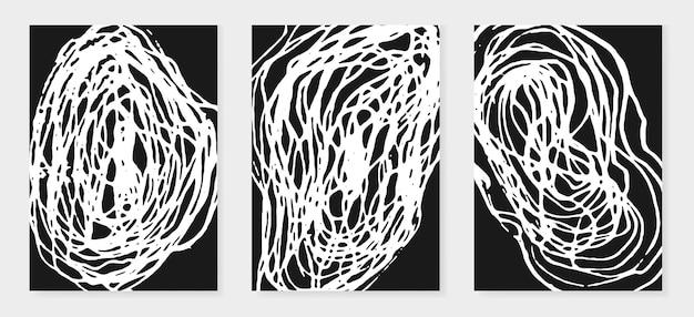 ストロークと黒と白の背景のセット