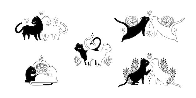 Набор пар черный и белый кот в любви, разные позы, милый силуэт кошки. черная иллюстрация, изолированные на белом фоне