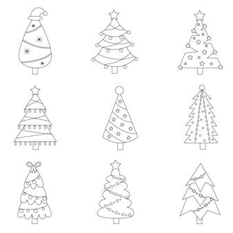 黒と白のクリスマスツリーのセットです。イラスト集。