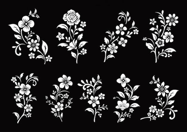黒と白の花のカットのセット