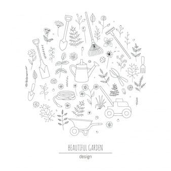 흑인과 백인 정원 도구, 꽃, 허브, 식물의 집합입니다. 급수 깡통, 가위, 잔디 깍는 기계의 원형에서 액자. 만화 스타일의 일러스트 레이 션. 원예 테마 개념입니다.