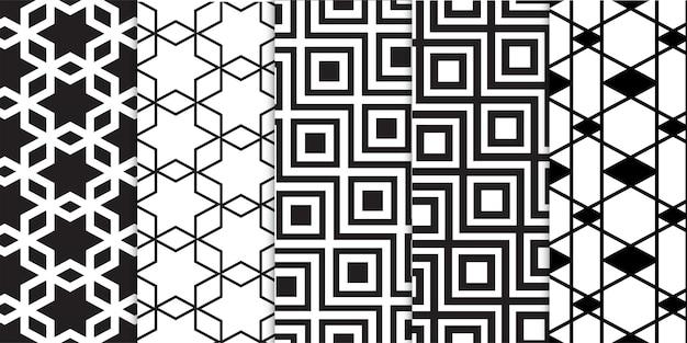 흑인과 백인 기하학적 추상 라인 모양 줄무늬 패턴의 집합