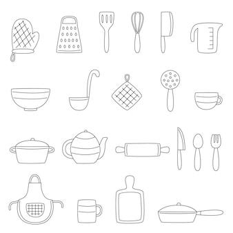 手描きスタイルの黒と白のキッチンツールのセット。イラスト集。
