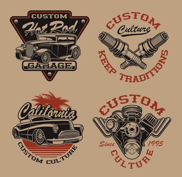 暗い背景に交通テーマの黒と白のロゴまたはビンテージスタイルのシャツのセットです。ポスター、アパレル、tシャツのデザインなど、さまざまな用途に最適です。レイヤード
