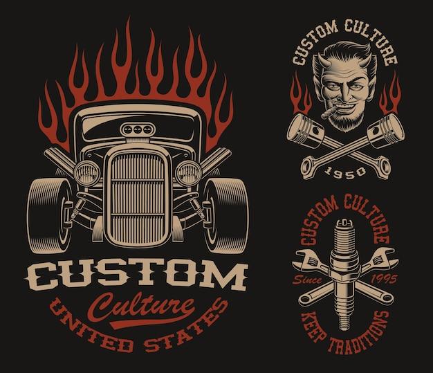 暗い背景に輸送テーマの黒と白のロゴまたはビンテージスタイルのシャツのセット