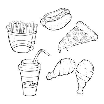 정크 푸드 또는 흰색 배경에 스케치 또는 낙서 스타일을 사용하여 패스트 푸드와 흑백 점심 세트
