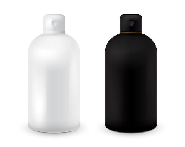 샴푸, 샤워 젤, 로션, 바디 밀크, 목욕 거품에 대 한 검은 색과 흰색 플라스틱 병 템플릿 집합입니다. 디자인 준비 완료 로션에 대한 현실적인 화장품 용기. 병을 조롱하십시오.