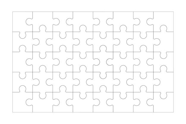 Набор черно-белых частей пазла, изолированных на белом фоне пазл 40 штук и 5x8