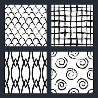 マーカー北欧スタイルの黒と白のシームレスパターンのセット
