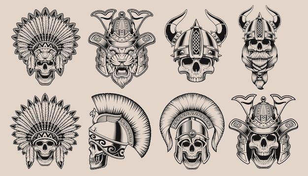 Набор черно-белых черепов в шлемах воинов. череп самурая, тигр-самурай, череп викинга, индейский череп и спартанский череп.