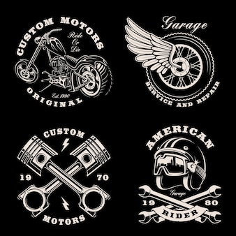 暗いのオートバイのテーマの黒と白のヴィンテージエンブレムのセット