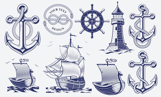 黒と白のヴィンテージ航海イラストのセット