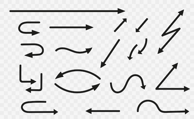 黒い矢印のセット。矢印コレクションブラック。矢印アイコン。