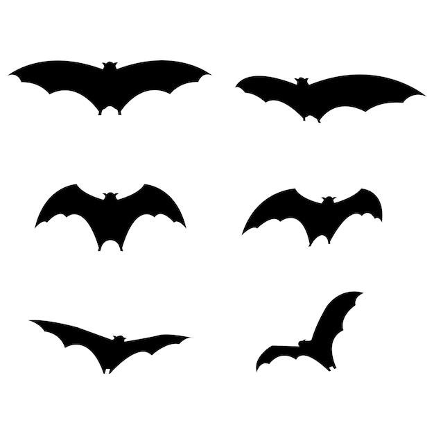 Набор черных летучих мышей на хэллоуин. вектор