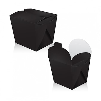 검은 빈 냄비 상자 세트. 포장. 아시아 또는 중국을위한 판지 상자는 음식 종이 봉지를 빼냅니다