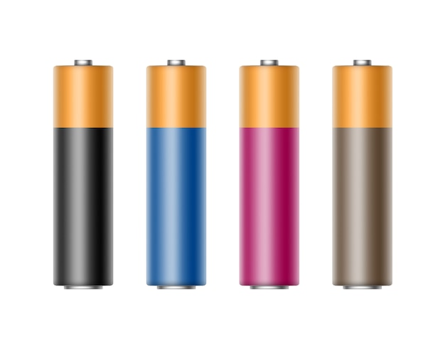 ブラックブルーシアンピンクアルカリ単三電池のセット