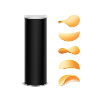 감자 칩이 들어간 블랙 박스 패키지 디자인 세트