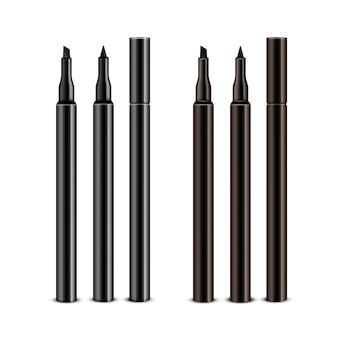 キャップなしのブラックブラウン化粧品メイクアップアイライナーペンシルのセット