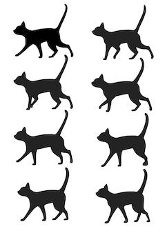 검은 고양이 실루엣 아이콘 컬렉션의 집합입니다. 산책 애니메이션 사전 설정에 대한 검은 고양이 포즈. 흰색 배경에 그림