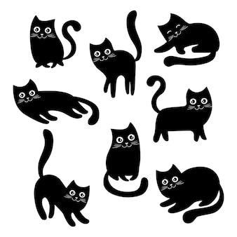 黒い猫のセットです。ハロウィーンの漫画猫のコレクション。素敵な黒い子猫を再生します。ペットペットのイラスト。猫のロゴ。