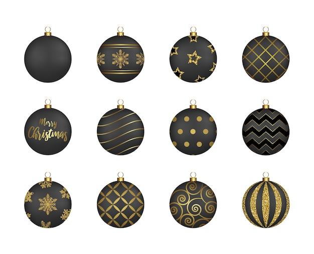 Набор черных новогодних шаров с золотыми украшениями