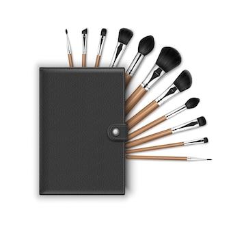 블랙 클린 프로페셔널 메이크업 컨실러 파우더 블러쉬 아이 섀도우 브로우 브러쉬 세트