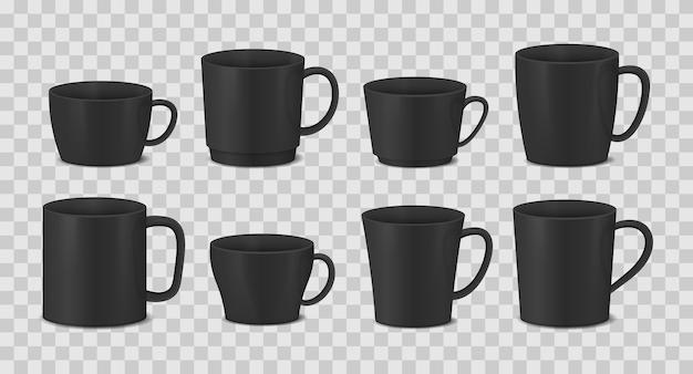 透明な背景に黒いカップのセット