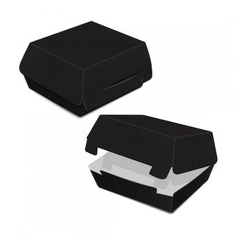 검은 음식 상자, 햄버거, 점심, 패스트 푸드, 샌드위치 포장의 집합입니다. 흰색 배경에 제품 패키지