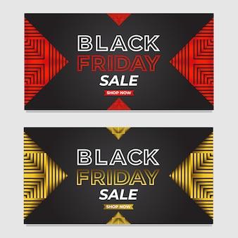 抽象的な三角形のテンプレートとブラックフライデーの販売促進バナーのセット