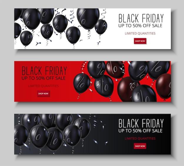 Набор красных промо-баннеров черная пятница с блестящими воздушными шарами со знаком процента