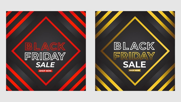 검은 금요일 판매 소셜 미디어 포스트 프로모션 템플릿 세트