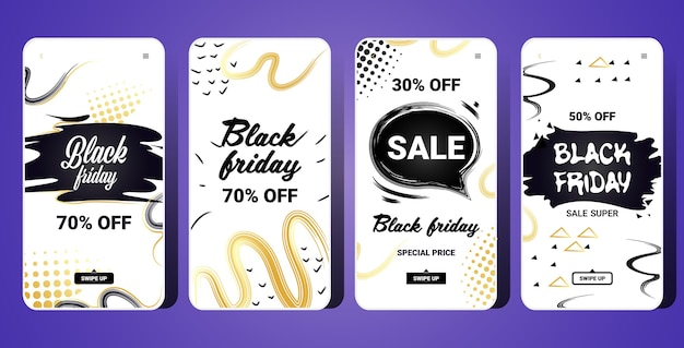 Набор шаблонов вертикального баннера черной пятницы для историй instagram