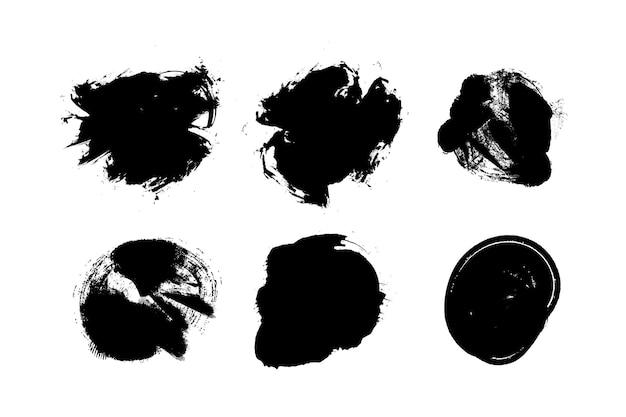 黒のグランジブラシストロークのセット。
