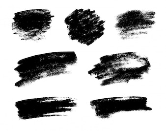 Set of black grunge vector brushes