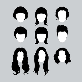 女性のための黒い髪のスタイリングシルエットのセット