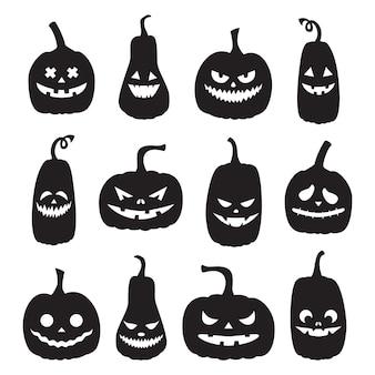 さまざまな表情の黒いハロウィーンのカボチャのシルエットのセット。不気味な顔