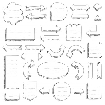 Набор черных рисованных стрелок и рамок для интеллект-карт
