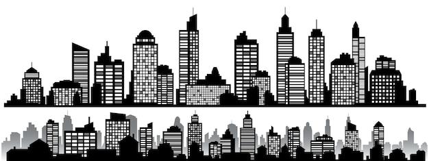 黒の水平方向の夜の街並みのセット。都市のシルエット、デザインバナーの要素、ウェブデザイン、建築の背景