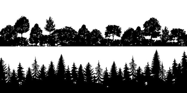 검은 가로 실루엣 침 엽 수 나무 숲 소나무 세트 프리미엄 벡터