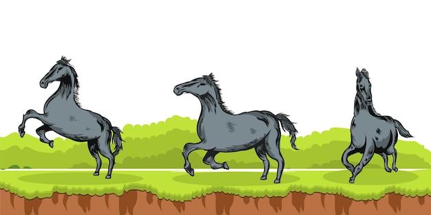 Набор черных лошадей в разных позах в лесу