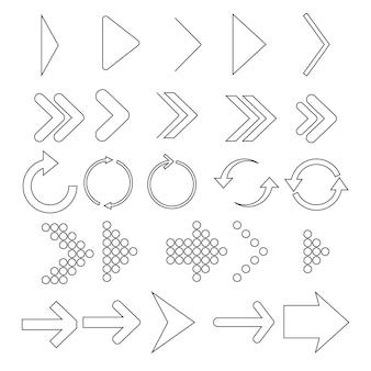 검은 선형 화살표의 집합입니다. 컬렉션 벡터 화살표입니다. 다른 선형 화살표 아이콘